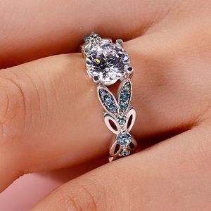 Jeulia Butterfly Round Cut SS Ring Size 5.5